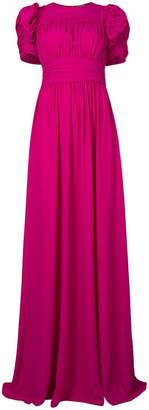 No.21 puff sleeve open back gown
