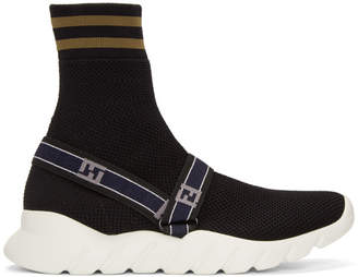 Fendi Black Forever Knit High-Top Sneakers