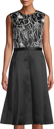 Jason Wu Scribble-Print A-Line Combo Dress, Chalk/Black
