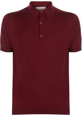 John Smedley Sea Island Stripe Polo Shirt