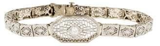 14K Diamond Filigree Art Deco Bracelet