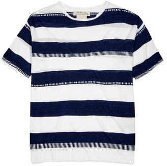 Remi Relief White Striped Jacquard-knit Top