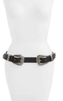 Women's Topshop Double Buckle Faux Leather Western Belt $38 thestylecure.com