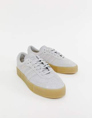 adidas Samba Rose Sneakers In Grey With Gum Sole