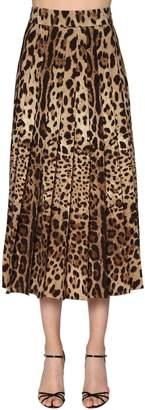 Dolce & Gabbana Leopard Pleated Wool Crepe Long Skirt