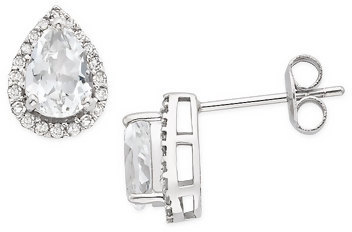 1 3/4 Carat White Topaz and Diamond 14K White Gold Earrings
