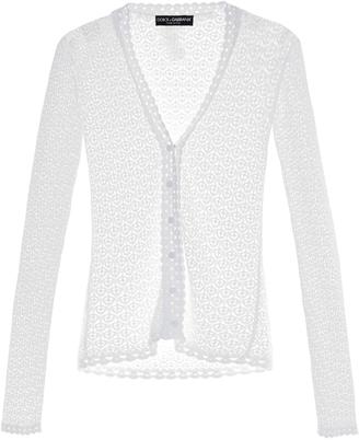 Lace-knit V-neck cardigan