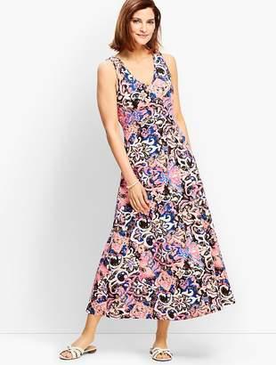Talbots Casual Jersey Maxi Dress - Scroll Print