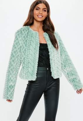 Missguided Snake Effect Faux Fur Coat