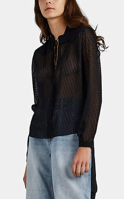 Amiri Women's Swiss-Dot Silk Blouse - Black
