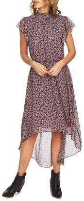 1 STATE 1.STATE Ditsy Drift Flutter Sleeve Dress