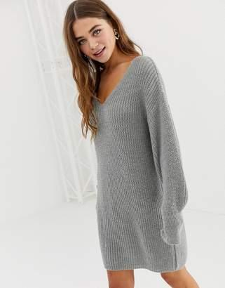 Asos Design DESIGN v neck mini dress with volume sleeve