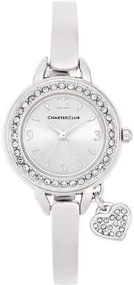 Charter Club Women Heart Charm Silver-Tone Bangle Bracelet Watch 26mm