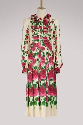 Gucci Rose garden print silk dress