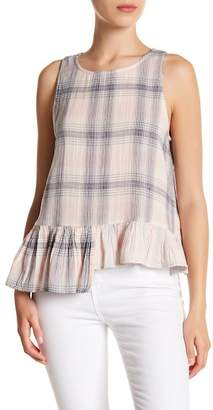 Susina Plaid Asymmetrical Peplum Tank (Regular & Petite)