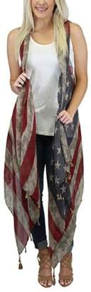 Sunshine & Rodeos Weathered American-Flag Scarf-Wrap