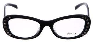 Prada Stud-Trimmed Round Eyeglasses