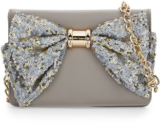 Betsey Johnson Oh Bow Sequined Wallet-On-Chain, Stone $60 thestylecure.com
