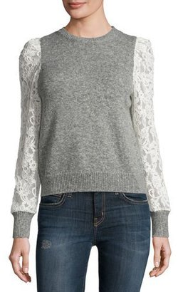 Rebecca Taylor Lace-Sleeve Pullover, Heather Gray $395 thestylecure.com