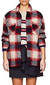 Etoile Isabel Marant Women's Gast Checked Wool-Blend Bouclé Shirt Jacket - Red