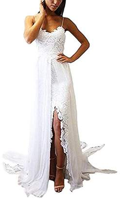 Ellenhouse Women's 2017 Side Slit Boho Lace Wedding Dresses Bohemian Bridal Gowns