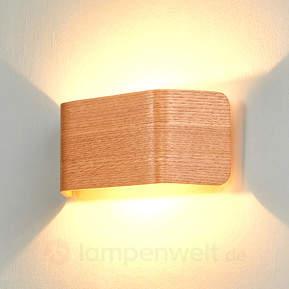Holzfarbene LED-Wandleuchte Skate