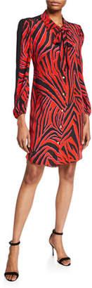 Escada Sport Demokrit Tiger-Striped Tie-Neck Shirtdress