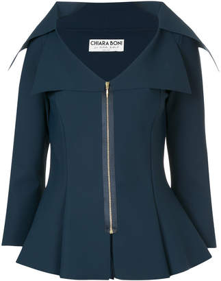Chiara Boni wide neck fitted jacket