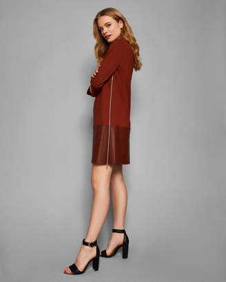 Ted Baker OLYIE Leather zip detail dress