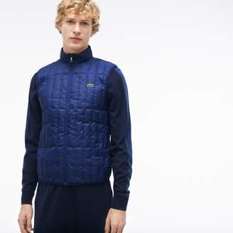 Lacoste Men's Lightweight Built-in Hood Quilted Down Packable Vest