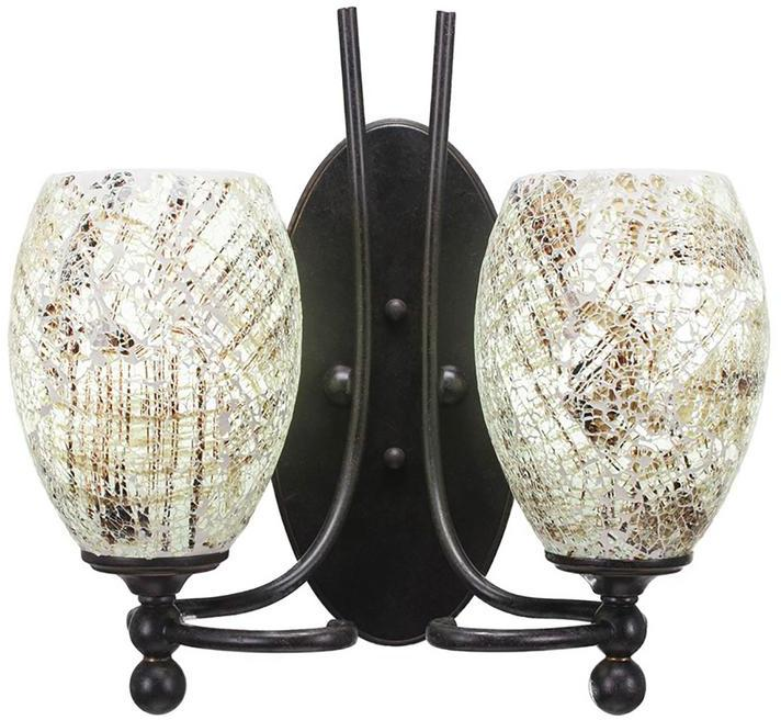 Cambridge Silversmiths Cambridge 2-Light Dark Granite Sconce with Natural Tiffany-Style Glass