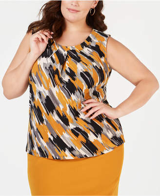Kasper Plus Size Pleat-Neck Top