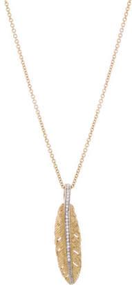 Michael Aram 18K Gold Feather Pendant Necklace with Diamonds