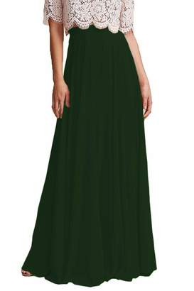 7f45ef7697e Omleas Omelas Women Long Floor Length Chiffon High Waist Skirt Maxi  Bridesmaid Pary Dress (