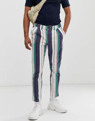 Asos Design DESIGN cigarette trousers with pleats in washed stripe