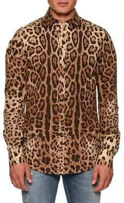 Dolce & Gabbana Leopard-Print Poplin Shirt