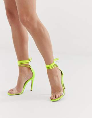 Public Desire Vivid neon yellow ankle tie heeled sandals with glitter soles