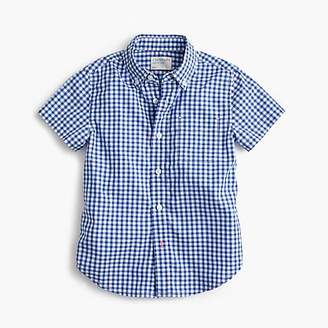 J.Crew Kids' short-sleeve Secret Wash shirt in blue gingham
