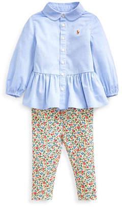 Ralph Lauren Childrenswear Peplum Oxford Shirt w/ Floral Leggings, Size 6-24 Months