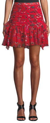 Tanya Taylor Abby Ruched Floral Flounce Mini Skirt