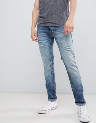 Jack and Jones Intelligence Jeans In Slim Fit With Open Rips