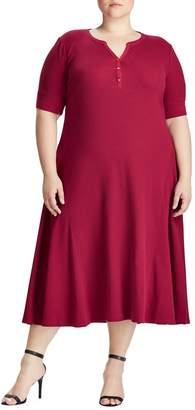 Lauren Ralph Lauren Plus Waffle-Knit Cotton Fit--Flare Dress