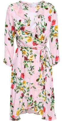 Milly Audrey Ruffled Floral-print Silk-blend Wrap Dress