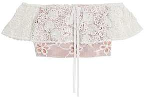 Alexis Cater Off-The-Shoulder Cropped Macramé Lace Top