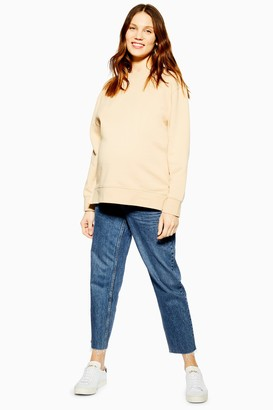 Topshop Womens **Maternity Over The Bump Straight Jeans - Mid Stone