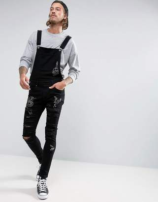 Liquor & Poker Black Wash Doodle Ripped Overall $72 thestylecure.com