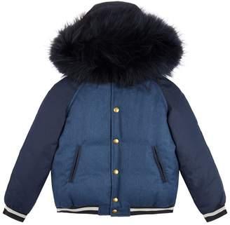 Yves Salomon Raccoon Fur Hood Quilted Jacket