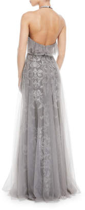 Marchesa Embroidered Halter Gown w/ Tulle Skirt Overlay