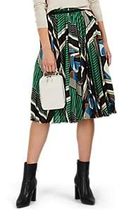 08sircus Women's Geometric-Print Satin Pleated-Front Midi-Skirt - Green Multi