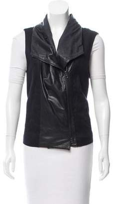 Vince Leather-Trimmed Zip Front Vest